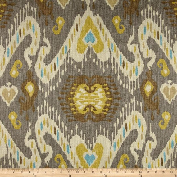 Waverly Taupe/Grey And Gold Ikat Curtain Panels By
