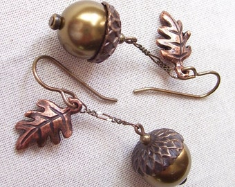 Antique Brass Pearl Earrings with Brass Acorn Caps and Antique Finish Copper Oak Leaves