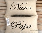 Grandparents' Pillows-Mother's Day Gift- Nana Papa- Burlap Mother Pillow, Grandparent's Gift- Mother's Day Gift
