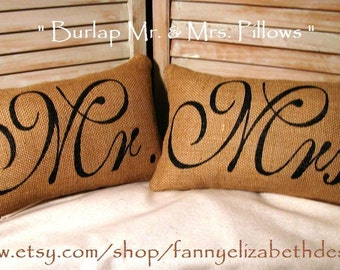 Mr. & Mrs. Pillows FREE SHIPPING-- Burlap Pillows-  Wedding Gift- Rustic Wedding-Pillow- Decorative Pillow-Burlap Pillow-
