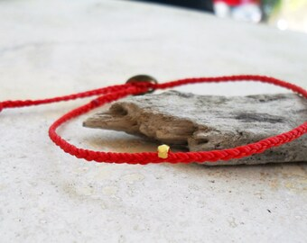 Red string bracelet, friendship bracelet wish bracelet waxed cord vermail bead