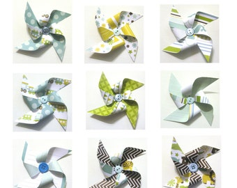 Paper Pinwheels - BABY BOY Themed SET of 12 (Great for Cupcake Toppers or Pinwheel Bouquet)