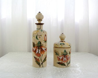 Antique handpainted bristol glass dresser set