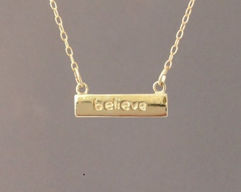 Gold 'Believe' Horizontal Bar Necklace
