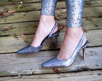 Vintage // Holographic Glitter Pumps // Hologram Heels 90's Shoes // Made in Spain // Rhinestones // Size 7.5 RARE