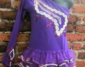Vintage Tutu Leotard Dance Costume.  Bright Purple with Violet and White Sequins. Dancing Girl, Circus Girl, Ballerina, Burlesque. L/XL/XXL