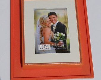 Vintage Retro Picture Frame 8 x 10  Mod Orange Plastic Retro Tangerine Wedding Matted Picture Frame  5 x 7