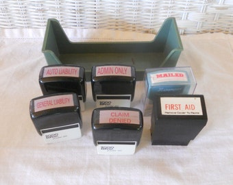 Vintage Ink Stamps 1970 Office Supplies  Desk Accessory Set of 6 Insurance Claim Stamps