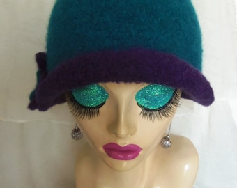 10% OFF CODE Teal & Purple Vintage Inspired Crocheted Felted Cloche Flapper Hat 'Carrie Bell'