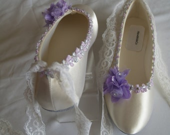 """Brides Wedding Shoes Flats, Ivory Satin Flats with Purple Flowers, Bride Ballet style Slippers, Lace """"Lace"""" Up Ribbon"""