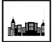 Printable Art Black on White City 8x10