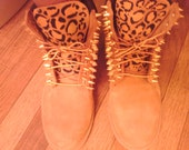 Customize leopard print timberland boots
