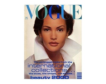 Vintage Vogue Magazine - UK March 1992 with cover photograph by David Bailey