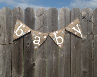 BABY BANNER / Blue and Pink Polka Dots Bunting / Banner / Gender Neutral Baby Banner
