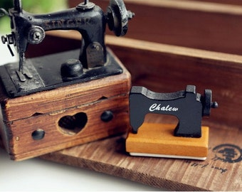 1 piece of Zakka Sewing Machine Wooden Stamp - HAPPY BIRTHDAY