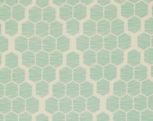 "Hive in Mint (Honeycomb in Blue) by Joel Dewberry Home Decor Sateen - 54"" wide - Bungalow Collection - 1 yard, Additional available"
