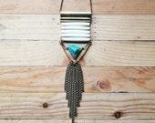 Gorgeous Peruvian Blue Opal Triangle Statement Necklace
