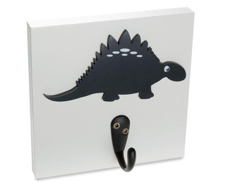 Dinosaur Wall Hook, navy stegosaurus boy room decor, bedroom