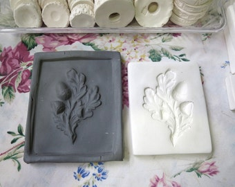 Clay Acorn Oak Leaf Pottery Press Mold Relief Mold or Sprig Mold Bisque Clay Autumn Leaves Press Mold for Ceramic Decoration and Texture