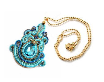 Soutache pendant - very elegant, shinning and classy - KATHMANDU BLUE SKY