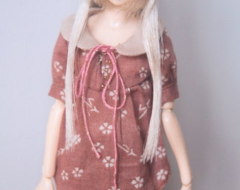 RYBG Creation - deep pink flowered shirts Momoko or Nippon or Blythe or Azone or OB27 or YOSD or Jerryberry
