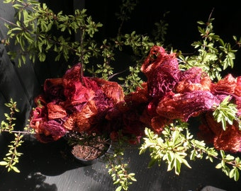 Ruffled Scarf, shades of red, with glimmer, free shipping