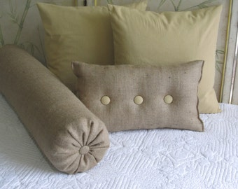 8 x 20 inch long bolster/daybed pillow in burlap