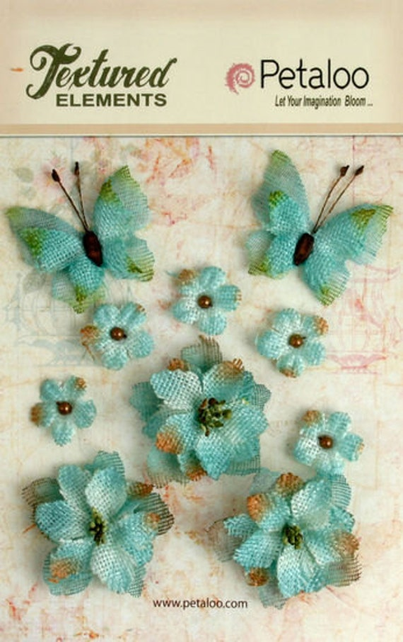30% OFF TODAY ONLY - Petaloo - Burlap Blossoms and Butterflies Collection - Teal (1201-205)