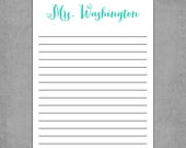 Notepad, Simplistic Vintage Letterhead- Notebook Lines - Personalized Custom Notepads - Assorted Colors - Shopping List,To Do List, or Gift.