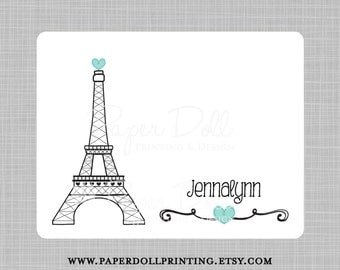 Paris Eiffel Tower Note Cards - Set of 12 Flat Note Cards - Corner Rounded - Design: Jennalynn