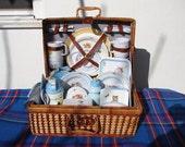 Rare,Full-size,Beatrix Potter,Collectors picnic hamper/ set in gingham lined wicker basket.