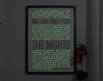 ON SALE - Night Calendar 2014  - Silkscreen Printed Poster with Phosphor - Black Ink on White Paper
