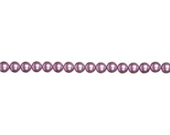 4mm Purple Glass Pearl Beads (2 Strands)