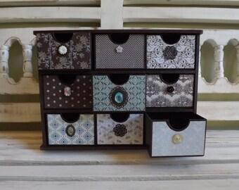 Vintage Inspired Brown Jewelry Box Organizer Home Office Desk Organizer Trinkets Chest