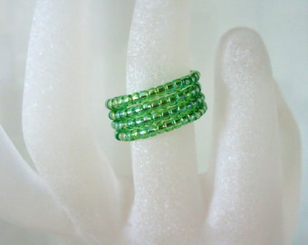 Apple Green Ring Memory Wire Ring Expandable seed bead ring Ladies Jewellery Gifts for her