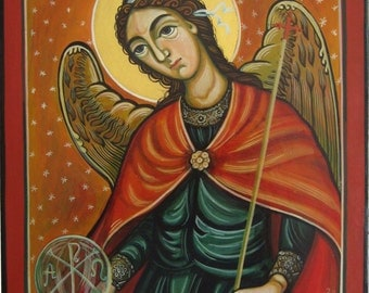 Archangel Gabriel. Byzantine icon handmade painted only on demand Romanian icon Russian icon Greek icon