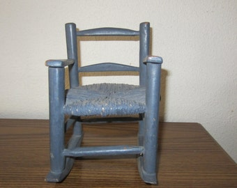 Doll Rocking Chair or Home Decor Painted Blue Wood & Rafia - Doll Furniture Small Chair