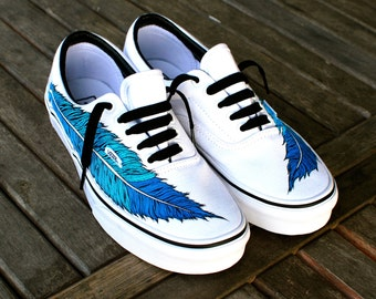 Hand Painted Eagle Feather on White Vans Era Shoe - customizable