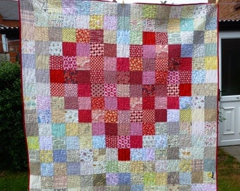 PDF Pattern Pixelated Heart Quilt: Level - Beginner