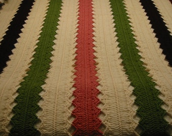 """vintage handmade hairpin lace afghan/shawl/lap throw . . .  made with 100% worsted weight wool yarn . . . .  41"""" X  56"""""""