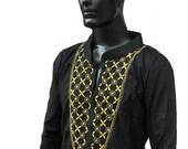 Spring time gifts for him Black dress kurta pattern man tunic easter shirt Plus size clothing fancy Kaftan Salwar Kameez indian sari fabric