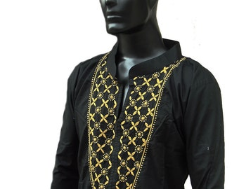Valentine gifts for Mens kurta black dress embroidered shirt Viking tunic gypsy clothes in plus size Anniversary gifts for him kurta pattern