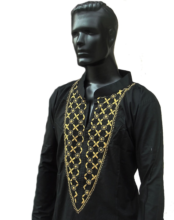 Black Kurta Mens Tunic Plus Size Clothing Long Sleeved Kaftan