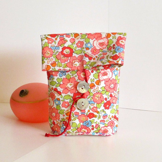 Small POUCH in coral pink LIBERTY of London BETSY design