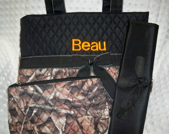 PERSONALIZED 3 Piece Diaper Bag Set with Name - Baby Boy Camo Personalized Diaper Bag, Zipper Pouch, and Changing Pad Embroidered