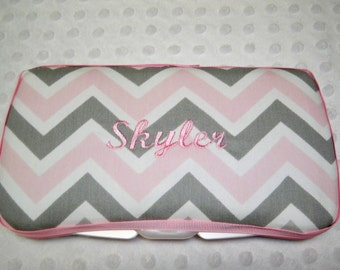 Personalized Pink and Grey Chevron Wipe Case with Name - Pink and Gray Chevron - Baby Girl Gift - Pink Chevron Gift - Pink Chevron Wipe Case