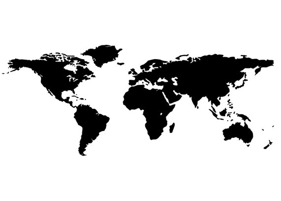 global world map vinyl decal wall art decor removable by sti