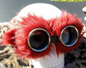 Fire Red Faux fluff fur. Steampunk Goggles Air Pirate explorer Eyewear