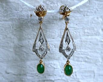 Vintage Art Deco Chandelier Emerald and Diamond Earrings.