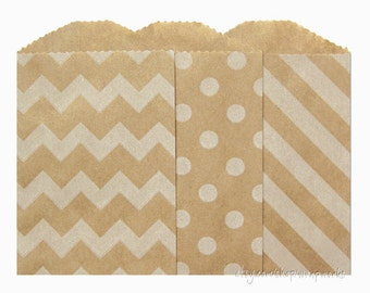 30 Itty Bitty Kraft Paper Bags with White Designs; 2.75 x 4 inches, Choose polka dots, chevron or diagonal stripes